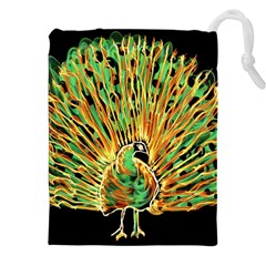 Unusual Peacock Drawn With Flame Lines Drawstring Pouches (xxl)