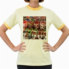 Colorful Oriental Candle Holders For Sale On Local Market Women s Fitted Ringer T Shirts