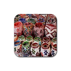 Colorful Oriental Candle Holders For Sale On Local Market Rubber Square Coaster (4 pack)