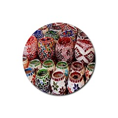 Colorful Oriental Candle Holders For Sale On Local Market Rubber Round Coaster (4 Pack)