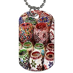 Colorful Oriental Candle Holders For Sale On Local Market Dog Tag (one Side)