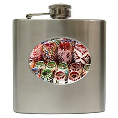 Colorful Oriental Candle Holders For Sale On Local Market Hip Flask (6 oz)