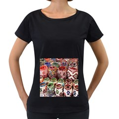 Colorful Oriental Candle Holders For Sale On Local Market Women s Loose-Fit T-Shirt (Black)