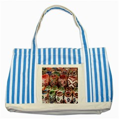 Colorful Oriental Candle Holders For Sale On Local Market Striped Blue Tote Bag