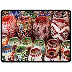 Colorful Oriental Candle Holders For Sale On Local Market Fleece Blanket (large)