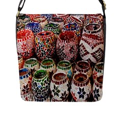 Colorful Oriental Candle Holders For Sale On Local Market Flap Messenger Bag (L)