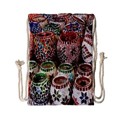Colorful Oriental Candle Holders For Sale On Local Market Drawstring Bag (small)