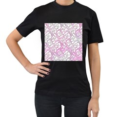 Floral Pattern Background Women s T Shirt (black) (two Sided)