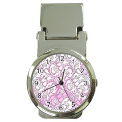 Floral Pattern Background Money Clip Watches