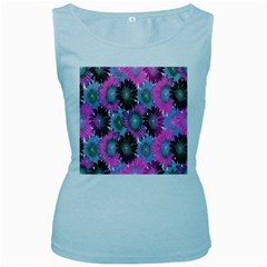 Floral Pattern Background Women s Baby Blue Tank Top
