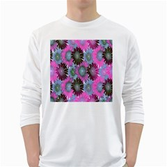 Floral Pattern Background White Long Sleeve T-Shirts