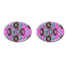 Floral Pattern Background Cufflinks (Oval)