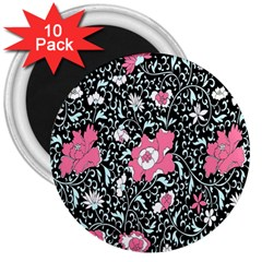 Oriental Style Floral Pattern Background Wallpaper 3  Magnets (10 pack)