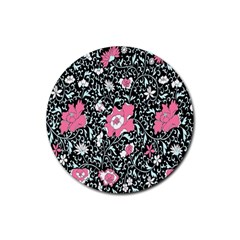 Oriental Style Floral Pattern Background Wallpaper Rubber Round Coaster (4 Pack)