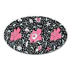 Oriental Style Floral Pattern Background Wallpaper Oval Magnet