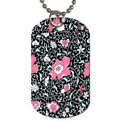 Oriental Style Floral Pattern Background Wallpaper Dog Tag (two Sides)