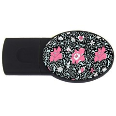 Oriental Style Floral Pattern Background Wallpaper Usb Flash Drive Oval (2 Gb)