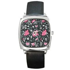 Oriental Style Floral Pattern Background Wallpaper Square Metal Watch