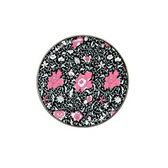 Oriental Style Floral Pattern Background Wallpaper Hat Clip Ball Marker (4 Pack)