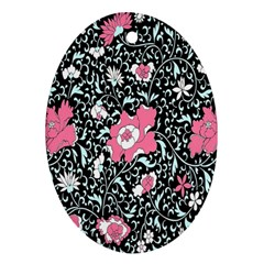 Oriental Style Floral Pattern Background Wallpaper Oval Ornament (Two Sides)