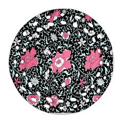 Oriental Style Floral Pattern Background Wallpaper Ornament (Round Filigree)