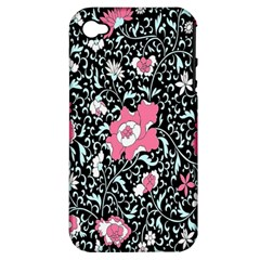 Oriental Style Floral Pattern Background Wallpaper Apple Iphone 4/4s Hardshell Case (pc+silicone)