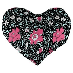Oriental Style Floral Pattern Background Wallpaper Large 19  Premium Heart Shape Cushions