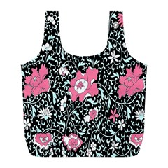 Oriental Style Floral Pattern Background Wallpaper Full Print Recycle Bags (l)