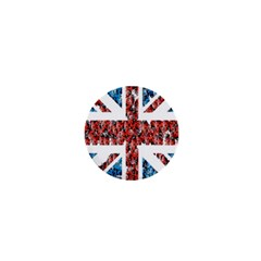 Fun And Unique Illustration Of The Uk Union Jack Flag Made Up Of Cartoon Ladybugs 1  Mini Buttons