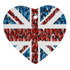Fun And Unique Illustration Of The Uk Union Jack Flag Made Up Of Cartoon Ladybugs Ornament (heart)