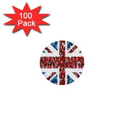 Fun And Unique Illustration Of The Uk Union Jack Flag Made Up Of Cartoon Ladybugs 1  Mini Buttons (100 Pack)
