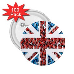 Fun And Unique Illustration Of The Uk Union Jack Flag Made Up Of Cartoon Ladybugs 2.25  Buttons (100 pack)
