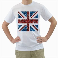 Fun And Unique Illustration Of The Uk Union Jack Flag Made Up Of Cartoon Ladybugs Men s T Shirt (white) (two Sided)