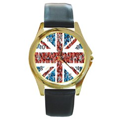 Fun And Unique Illustration Of The Uk Union Jack Flag Made Up Of Cartoon Ladybugs Round Gold Metal Watch