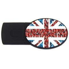 Fun And Unique Illustration Of The Uk Union Jack Flag Made Up Of Cartoon Ladybugs USB Flash Drive Oval (1 GB)