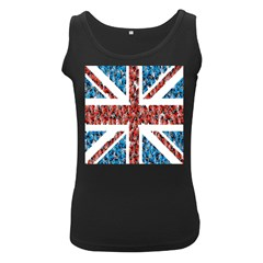 Fun And Unique Illustration Of The Uk Union Jack Flag Made Up Of Cartoon Ladybugs Women s Black Tank Top