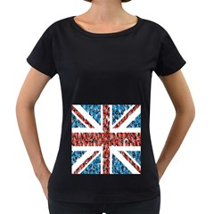 Fun And Unique Illustration Of The Uk Union Jack Flag Made Up Of Cartoon Ladybugs Women s Loose Fit T Shirt (black)