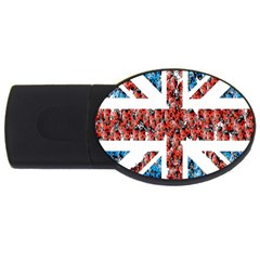 Fun And Unique Illustration Of The Uk Union Jack Flag Made Up Of Cartoon Ladybugs Usb Flash Drive Oval (4 Gb)