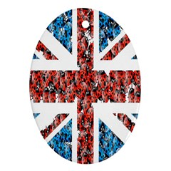 Fun And Unique Illustration Of The Uk Union Jack Flag Made Up Of Cartoon Ladybugs Oval Ornament (Two Sides)