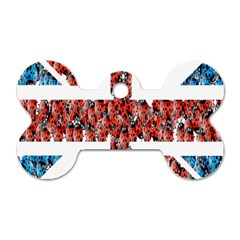 Fun And Unique Illustration Of The Uk Union Jack Flag Made Up Of Cartoon Ladybugs Dog Tag Bone (One Side)