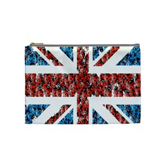 Fun And Unique Illustration Of The Uk Union Jack Flag Made Up Of Cartoon Ladybugs Cosmetic Bag (medium)