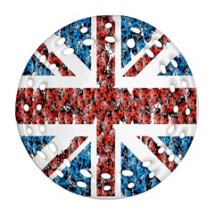 Fun And Unique Illustration Of The Uk Union Jack Flag Made Up Of Cartoon Ladybugs Round Filigree Ornament (two Sides)