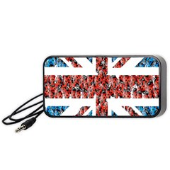 Fun And Unique Illustration Of The Uk Union Jack Flag Made Up Of Cartoon Ladybugs Portable Speaker (black)