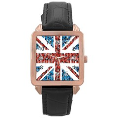Fun And Unique Illustration Of The Uk Union Jack Flag Made Up Of Cartoon Ladybugs Rose Gold Leather Watch