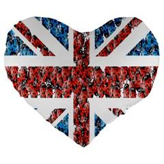 Fun And Unique Illustration Of The Uk Union Jack Flag Made Up Of Cartoon Ladybugs Large 19  Premium Flano Heart Shape Cushions