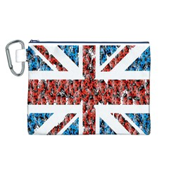 Fun And Unique Illustration Of The Uk Union Jack Flag Made Up Of Cartoon Ladybugs Canvas Cosmetic Bag (L)