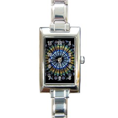 Stained Glass Rose Window In France s Strasbourg Cathedral Rectangle Italian Charm Watch