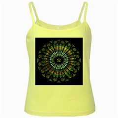 Stained Glass Rose Window In France s Strasbourg Cathedral Yellow Spaghetti Tank