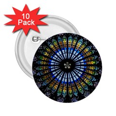 Stained Glass Rose Window In France s Strasbourg Cathedral 2.25  Buttons (10 pack)