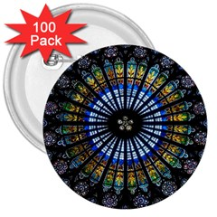 Stained Glass Rose Window In France s Strasbourg Cathedral 3  Buttons (100 Pack)
